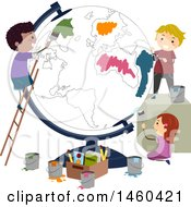 Clipart Of A Group Of Children Painting A Globe Royalty Free Vector Illustration