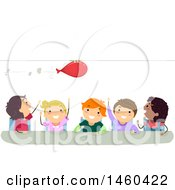Clipart Of A Group Of Children Conducting A Balloon Rocket Experiment Royalty Free Vector Illustration by BNP Design Studio