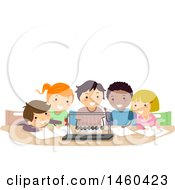 Clipart Of A Group Of Children Watching A Newtons Cradle Royalty Free Vector Illustration by BNP Design Studio