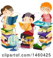 Poster, Art Print Of Group Of Children Reading Books By A Globe