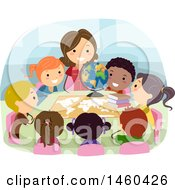 Clipart Of A Group Of Children And Teacher Learning Geography Royalty Free Vector Illustration by BNP Design Studio
