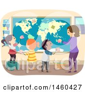 Poster, Art Print Of Group Of Children And Teacher Adding Notes To A Map