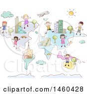 Clipart Of A Sketched Map With Children Royalty Free Vector Illustration by BNP Design Studio