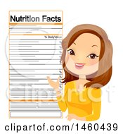 Clipart Of A Caucasian Female Nutritionist With A Label Royalty Free Vector Illustration by BNP Design Studio