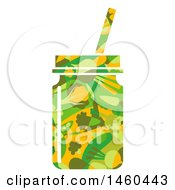 June 20th, 2017: Clipart Of A Vegetable Patterned Smoothie In A Mason Jar Royalty Free Vector Illustration by BNP Design Studio