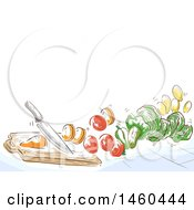 June 20th, 2017: Clipart Of A Sketched Knife Cutting Vegetables Royalty Free Vector Illustration by BNP Design Studio