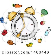 Clipart Of A Sketched Ringing Alarm Clock Plate With Silverware And Food Royalty Free Vector Illustration by BNP Design Studio