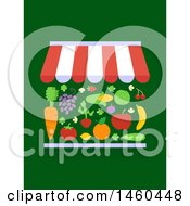 Clipart Of A Market Stall With Different Fruits And Vegetables For Sale On Green Royalty Free Vector Illustration by BNP Design Studio