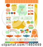 Clipart Of Candies And Sweet Elements For Halloween Trick Or Treat Royalty Free Vector Illustration