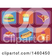 June 20th, 2017: Clipart Of Fast Food Icons Like Burger Fries Pizza Spaghetti Hotdog And Sundae Royalty Free Vector Illustration by BNP Design Studio