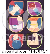 Poster, Art Print Of Workout Icons With Hands Holding Dumbbell Apple Player Kettle Bell And With Flexing Muscles And With Measuring Waist
