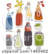Clipart Of Sketched Condiments Like Ketchup Mustard Olive Oil Hot Sauce Pepper Vinegar Soy Sauce Wasabi And Sliced Pickle Royalty Free Vector Illustration by BNP Design Studio
