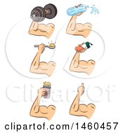 June 20th, 2017: Clipart Of Strong Male Arm With Water Protein And A Dumbbell Royalty Free Vector Illustration by BNP Design Studio
