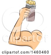 Clipart Of A Strong Mans Arm With A Protein Bar Royalty Free Vector Illustration by BNP Design Studio