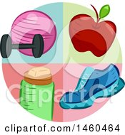 Clipart Of A Circle With A Dumbbell Exercise Ball Apple Shoe And Water Bottle Royalty Free Vector Illustration