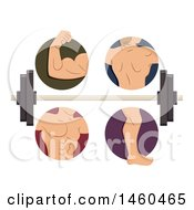 Clipart Of Male Muscles In Biceps Back Torso And Legs With A Barbell Royalty Free Vector Illustration by BNP Design Studio