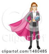 June 20th, 2017: Clipart Of A White Female Super Hero Teacher In A Pink Cape Royalty Free Vector Illustration by BNP Design Studio
