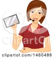 Friendly Female Teacher With A Personal Frequency Modulation System And A Tablet