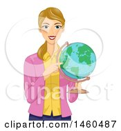 Blond White Female Teacher Holding And Pointing To A Desk Globe