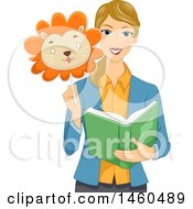 Blond White Female Teacher Holding A Lion Mask And Reading A Story Book