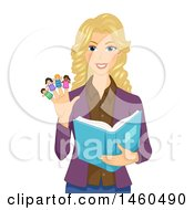 Clipart Of A Blond White Female Teacher Reading A Book And Wearing Finger Puppets Royalty Free Vector Illustration