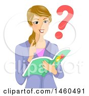 Blond White Female Teacher Asking A Question And Reading A Book