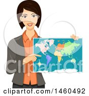 Poster, Art Print Of Female Teacher Holding A Geography Map