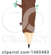 June 21st, 2017: Clipart Of A Tree Log With Leaves And Pencil Tip Royalty Free Vector Illustration by BNP Design Studio