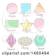 Poster, Art Print Of Basic Geometric Shapes Like Circle Square Triangle Rectangle Star Octagon Diamond Oblong And Hexagon