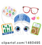 Clipart Of Funny Face Math Student Elements Consisting Of Numbers Eyeglasses Abacus Calculator Hat And Eyes Royalty Free Vector Illustration