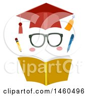 Clipart Of Funny Face Graduate Elements Consisting Of A Graduation Cap Eyeglasses Opened Book Pencil And Pen Royalty Free Vector Illustration