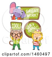 Clipart Of Elephant Monkey And Lion Students Holding Compliments Royalty Free Vector Illustration by BNP Design Studio