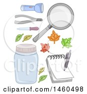 Poster, Art Print Of Flash Light Tongs Dropper Leaves Magnifying Glass Jar Notepad And Pen For A Science Experiment