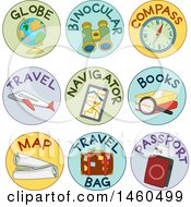 Clipart Of Labels For Globe Binoculars Compass Travel Navigator Books Map Travel Bag And Passport Royalty Free Vector Illustration