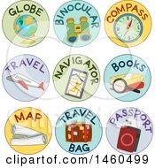 Poster, Art Print Of Labels For Globe Binoculars Compass Travel Navigator Books Map Travel Bag And Passport