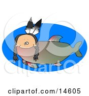 Odd Creature That Is Part Fish And Part Native American Indian With A Human Head Braids And Two Feathers Clipart Illustration