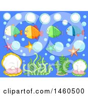 Underwater Elements Like Fish Bubbles Starfish Shell And Seaweeds For Classroom Boards