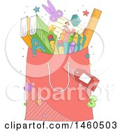 Clipart Of A Shopping Bag Full Of School Supplies Royalty Free Vector Illustration