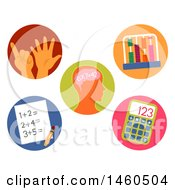 Clipart Of Computing Icons Through Hand Paper In Head Calculator And Abacus Royalty Free Vector Illustration by BNP Design Studio
