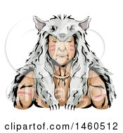 Clipart Of A Male Native American Indian Hunter Wearing A Wolf Skin Headdress Royalty Free Vector Illustration