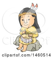 Clipart Of A Cartoon Native American Indian Woman Sitting On A Rock And Weaving A Basket Royalty Free Vector Illustration