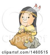 Cartoon Native American Woman Making Buffalo Hide Clothing