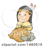 Clipart Of A Cartoon Native American Woman Making Buffalo Hide Clothing Royalty Free Vector Illustration