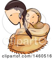Clipart Of A Sketched Native American Woman And Child In A Papoose Royalty Free Vector Illustration