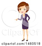 June 21st, 2017: Clipart Of A Short Haired Brunette Angry Caucasian Business Woman Pointing Royalty Free Vector Illustration by BNP Design Studio