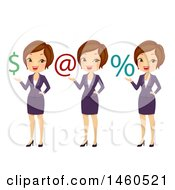 June 21st, 2017: Clipart Of A Short Haired Brunette Caucasian Business Woman Presenting A Dollar Sign Email Sign And Percent Symbol Royalty Free Vector Illustration by BNP Design Studio