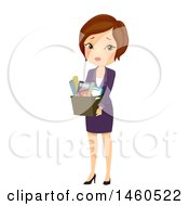June 21st, 2017: Clipart Of A Sad Fired Short Haired Brunette Caucasian Business Woman Carrying A Box Of Belongings Royalty Free Vector Illustration by BNP Design Studio