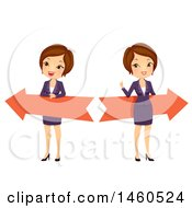 June 21st, 2017: Clipart Of A Short Haired Brunette Caucasian Business Woman With Left And Right Arrows Royalty Free Vector Illustration by BNP Design Studio