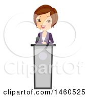 Clipart Of A Short Haired Brunette Caucasian Business Woman Speaking At A Podium Royalty Free Vector Illustration