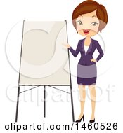 June 21st, 2017: Clipart Of A Short Haired Brunette Caucasian Business Woman Giving A Presentation Royalty Free Vector Illustration by BNP Design Studio